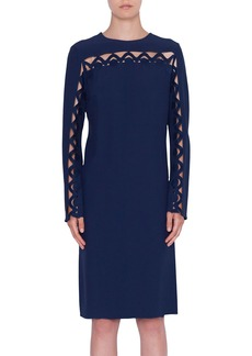 Akris punto Scalloped-Wave Inset Long-Sleeve Dress