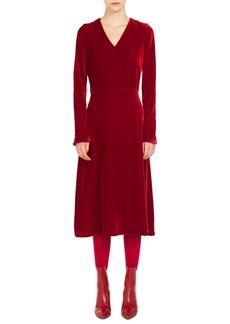Akris punto Scuba Velvet A-Line Midi Dress