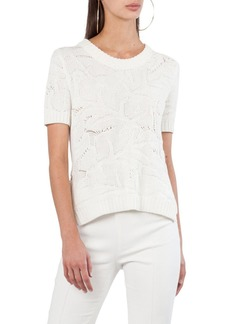 Akris punto Short-Sleeve Chunky Tropical Leaf Jacquard Sweater