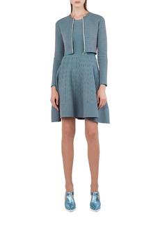 Akris punto Sleeveless Jacquard-Knit Fit-and-Flare Dress