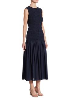 Akris Smocked Ruffle Cotton Dress