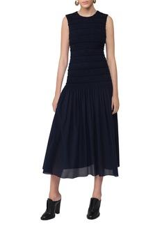 Akris punto Smocked Sleeveless Midi Dress
