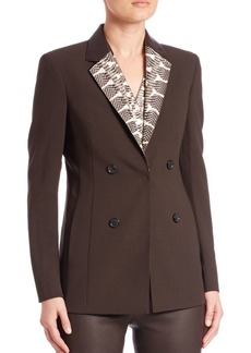 Akris punto Snakeskin & Leather Collar Wool Jacket