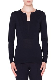 Akris punto Split-Neck Wool Pullover Sweater