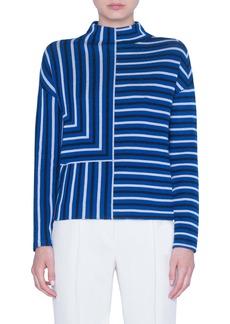 Akris punto Square Stripe Jacquard Merino Wool Sweater