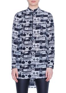 Akris punto Stereo Print Silk Blouse