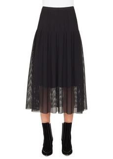 Akris punto Stitch Pleated Mesh Midi Skirt