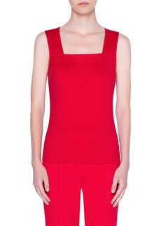 Akris punto Stretch Cotton Square Neck Tank