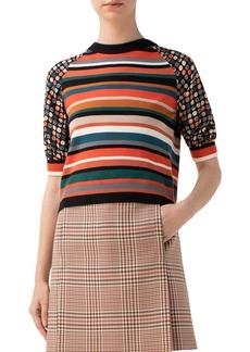 Akris punto Stripe & Dot Puff Sleeve Wool Sweater