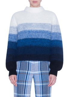Akris punto Stripe Alpaca Blend Balloon Sleeve Sweater