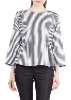 Akris punto Stripe Cotton Drawstring Blouse