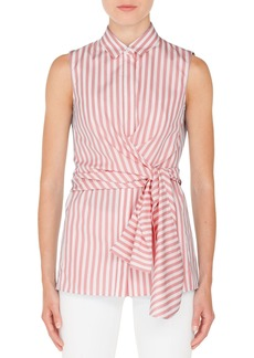 Akris punto Stripe Cotton Wrap Blouse