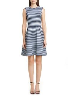 Akris punto Stripe Fit & Flare Sweater Dress