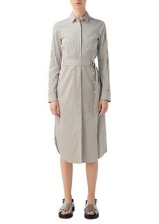 Akris punto Stripe Long Sleeve Cotton Poplin Shirtdress