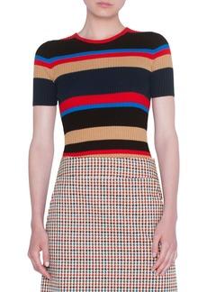 Akris punto Stripe Rib Merino Wool Sweater
