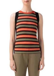 Akris punto Stripe Rib Sleeveless Merino Wool Top