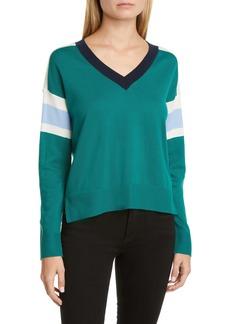 Akris punto Stripe V-Neck Merino Wool Sweater