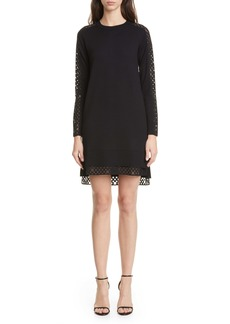 Akris punto Organza Dot Long Sleeve Merino Wool Sweater Dress