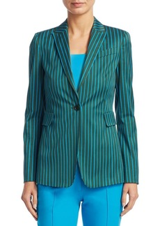 Striped Button-Front Cotton Jacket