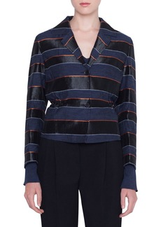 Akris punto Striped Drawstring Two-Button Blazer