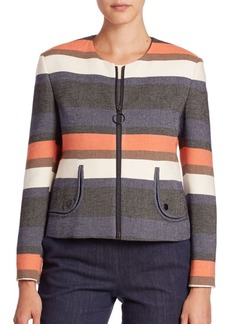 Akris punto Striped Peplum Back Jacket