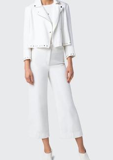 Akris punto Stud-Embellished Cotton Tweed Moto Jacket
