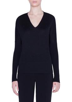 Akris punto Studded V-Neck Merino Wool Sweater