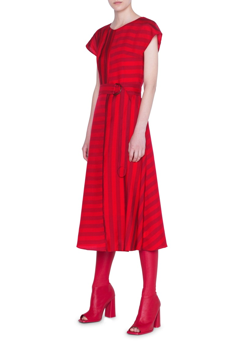 Akris punto Tonal Kodak Stripe Midi Dress