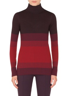 Akris punto Tricolor Wool Turtleneck Sweater