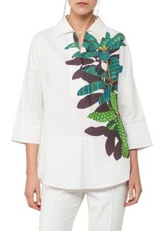 Akris punto Tropical Leaf-Print Kimono Blouse