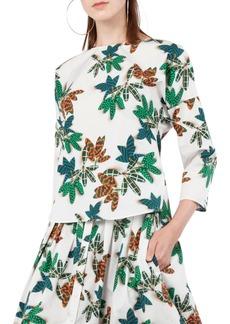Akris punto Tropical Print Cotton Blouse