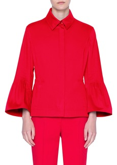 Akris punto Trumpet Sleeve Stretch Sateen Jacket