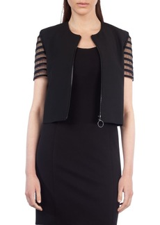 Akris punto Tulle Sleeve Crop Jacket