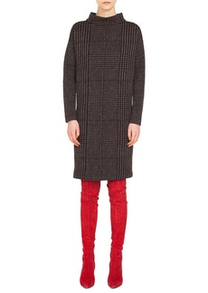 Akris punto Turtleneck Long-Sleeve Houndstooth Metallic Jacquard Shift Dress