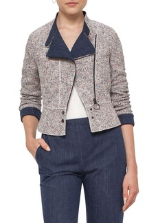 Akris punto Tweed & Denim Moto Jacket