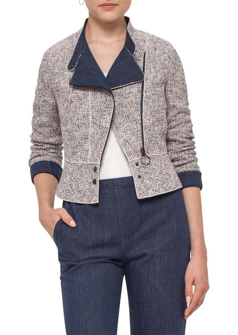 Akris punto Tweed & Denim Moto Jacket