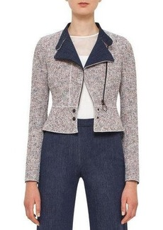 Akris punto Tweed Denim Moto Jacket
