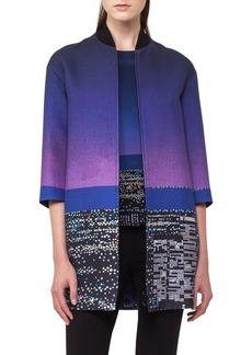 Akris punto Twilight City Print Long Bomber