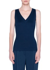 Akris punto V-Neck Stretch Cotton Top