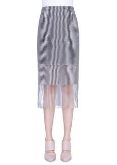 Akris punto Wave-Print Mesh Fringed-Hem Pencil Skirt