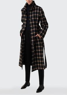 Akris punto Window Check Belted Wool-Blend Coat