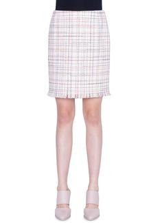 Akris punto WIndowpane Tweed Fringed Mini Skirt