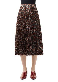 Akris punto Wood Block Dot Pleated Midi Skirt