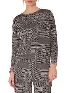Akris punto Wool & Cotton Patchwork Jacquard Top
