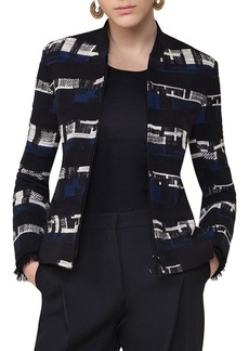Akris punto Zip-Up Tweed Bomber Jacket