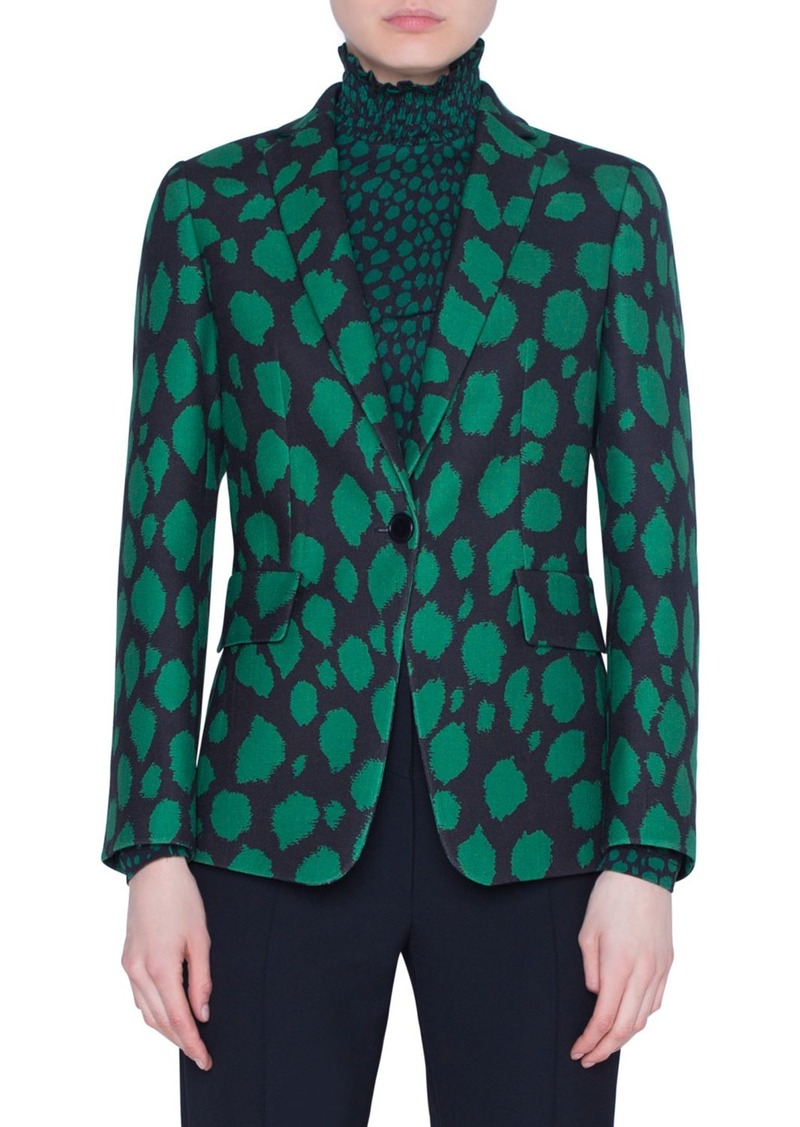 Akris Punto Animal-Print Jersey Blazer