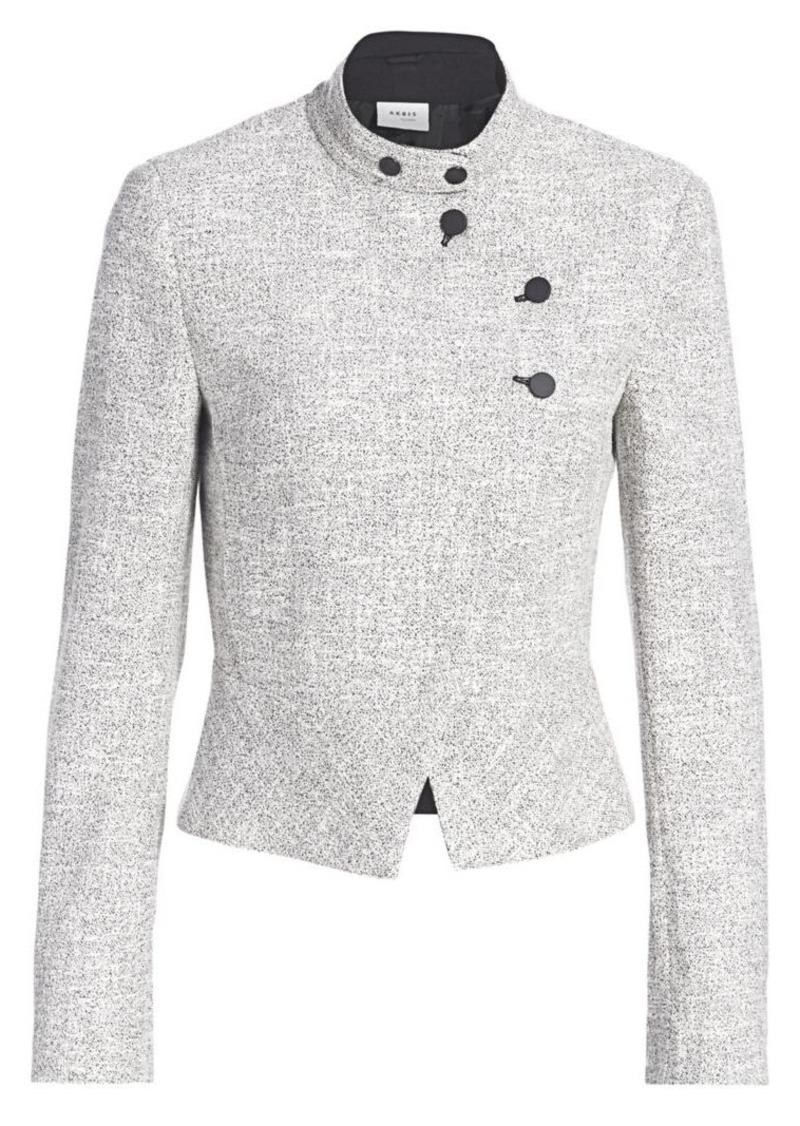 Akris Punto Asymmetric Button Zip Houndstooth Jacket