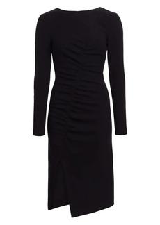 Akris Punto Asymmetric Ruched Jersey Midi Dress