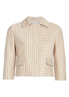 Akris Punto Back Pleat Striped Short Jacket