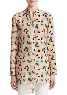 Akris Punto Belair Printed Zip-Up Tunic Blouse